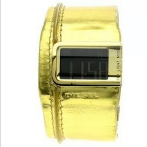 Diesel Men Cuff Leather Digital Leather Watch Gold